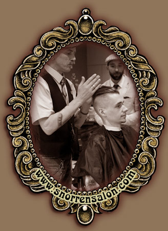 traditional oldschool haircut by at De Snorrensalon barbershop!